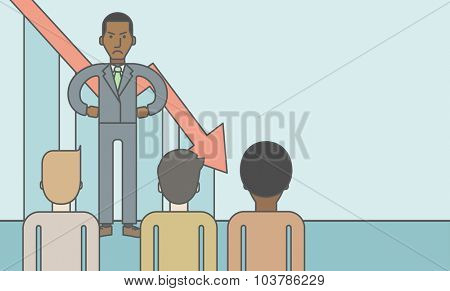 Angry boss disappointed by falling down graph standing in front of employees. Bankruptcy concept. Vector line design illustration. Horizontal layout with a text space.
