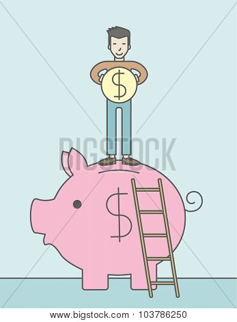 A happy asian man saving his money by putting a coin in a big piggy bank using a ladder. Saving concept. Vector line design illustration. Vertical layout with a text space.