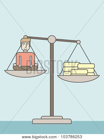 A caucasian businessman sitting on a scale with heaps of gold coins. Vector line design illustration. Vertical layout with a text space.