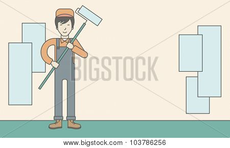 An asian window-cleaner holding roller on a stick. Vector line design illustration. Horizontal layout with a text space.