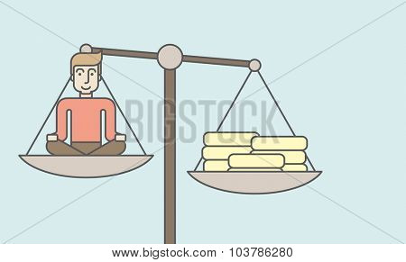A caucasian businessman sitting on a scale with heaps of gold coins. Vector line design illustration. Horizontal layout with a text space.