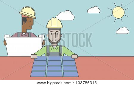 An african-american engineer holding blueprints standing near caucasian worker setting up solar panel. Vector line design illustration. Horizontal layout with a text space.