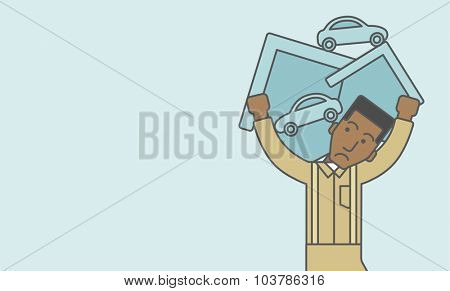 A sad  african-american man carrying house and car as his loan or debt. Vector line design illustration. Horizontal layout with a text space.