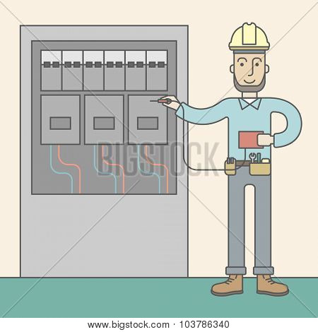 A caucasian hipster electrician with beard measuring the voltage output on an industrial power distribution center. Vector line design illustration. Square layout.