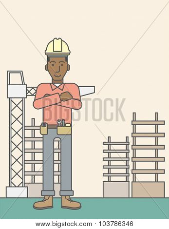 Confident african-american builder at construction site. Vector line design illustration. Vertical layout with a text space.