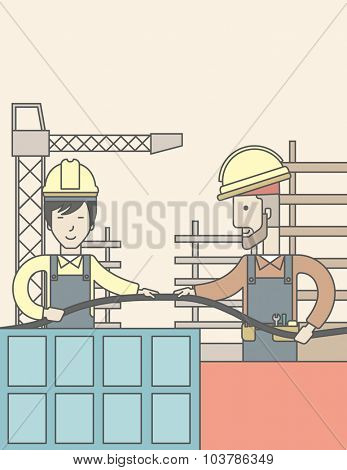 Two builders wearing hard hat working on construction site with hose. Vector line design illustration. Vertical layout with a text space.