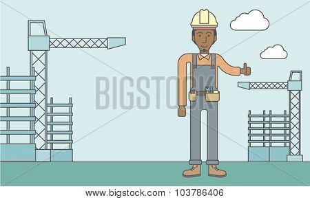 Smiling african-american builder with thumbs up at construction site. Vector line design illustration. Horizontal layout with a text space.