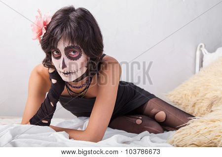 Woman With Make-up For Halloween
