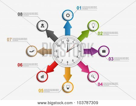Abstract Infographic With Arrows And Clock In The Centre. Design Template.