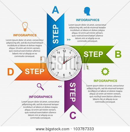 Abstract Infographic With Colorful Arrows And Clock In The Centre. Design Template.