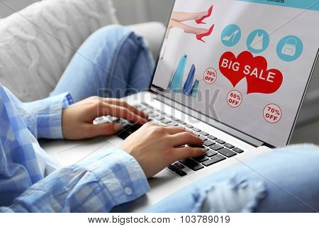 Woman using laptop. online shopping