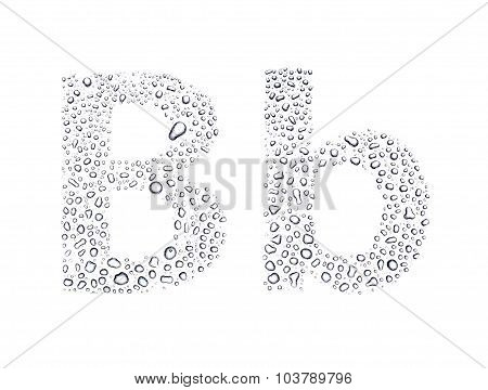 Water Drops Alphabet Letter B, Isolated White
