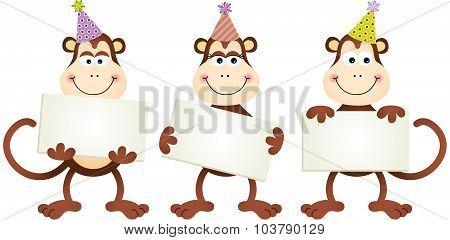 Birthday monkeys with signboards