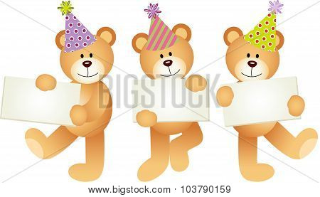Birthday teddy bears with signboards