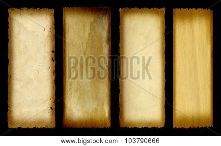 Concept or conceptual old vintage paper background set or collection isolated on black background banner