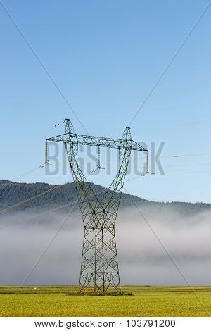 Big Electricity High Voltage Pylon With Power Lines