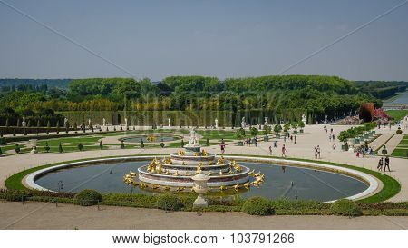 Latona Fountain in the garden at the Palace of Versailles