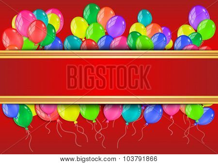 Banner With Colorful Balloons