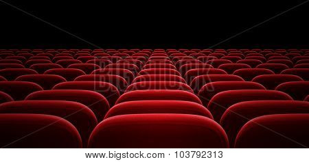 red auditorium or cinema hall arm chairs