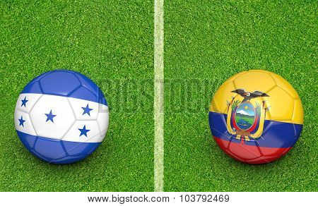 Team balls for Honduras vs Ecuador soccer tournament match