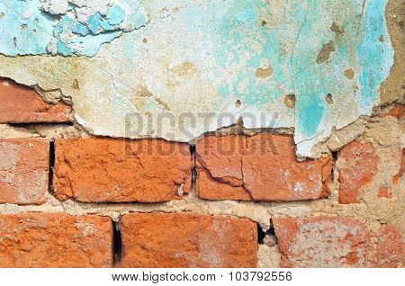 Old Brick Wall With Plaster Background