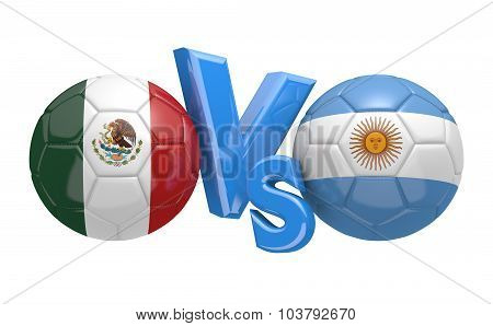 Soccer versus match between national teams Mexico and Argentina