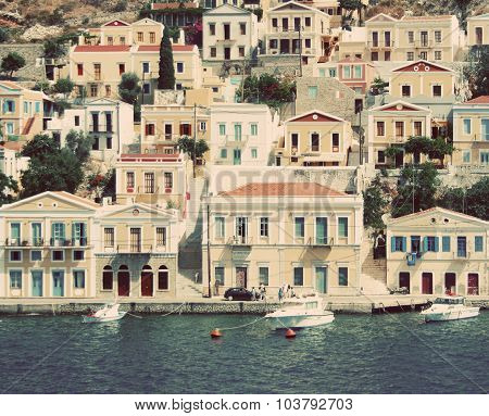 Greece. Island Symi. In Instagram Style Filtered