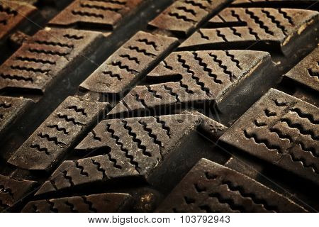 detail of used winter tyre