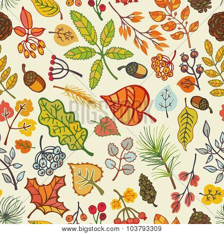 Autumn leaves,berries,pine branches seamless pattern