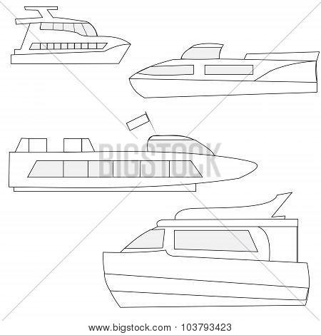 Set Of Icons Marine Yachts
