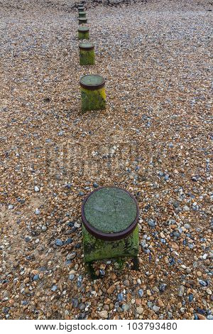 Tops Of Groynes, Part Buried By Pebbles.