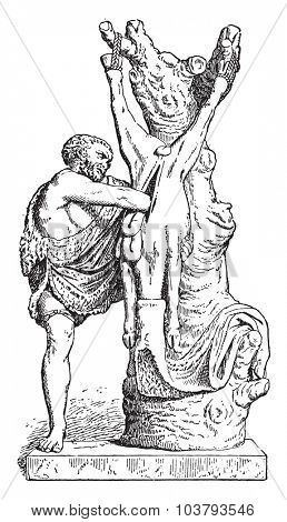 A butcher in antiquity, vintage engraved illustration.