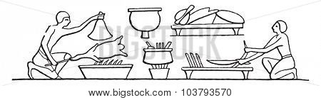 Chefs preparing food, vintage engraved illustration.