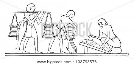 Preparation of fish, vintage engraved illustration.