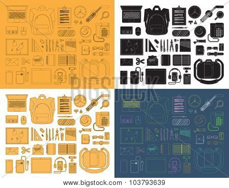 Set of thin line education equipment icons. Trendy linear and flat design vector icons. Collection of vector outlined and flat style school accessories