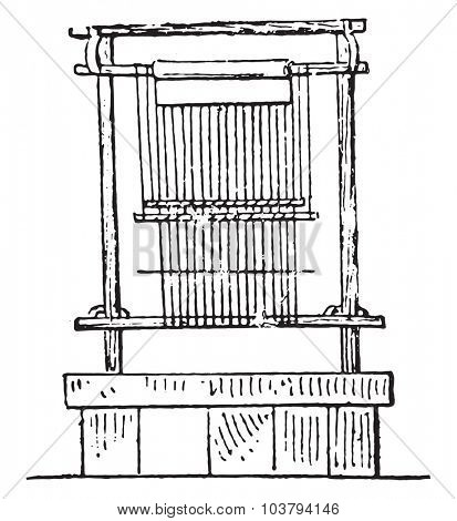 Egyptian loom, vintage engraved illustration.