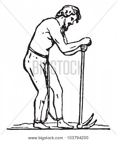 Laborer slave, vintage engraved illustration.