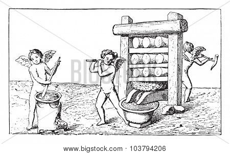 Wine press, vintage engraved illustration.