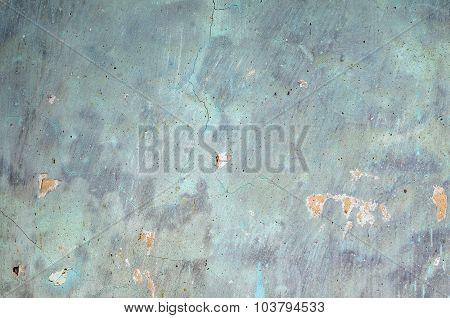 Old Blue Cracked Plaster Background