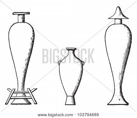 Oil amphorae, vintage engraved illustration.