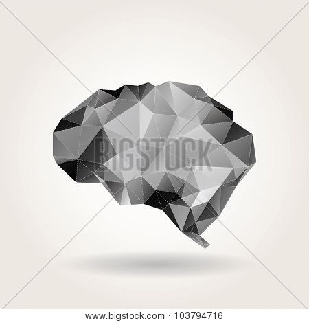 vector abstract low polygon human brain