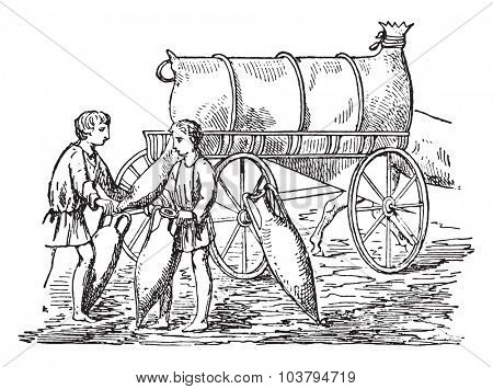 Oil placed in the amphorae, vintage engraved illustration.