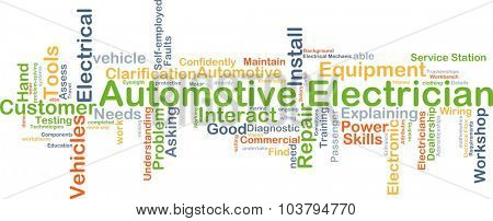 Background concept wordcloud illustration of automotive electrician