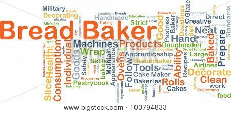 Background concept wordcloud illustration of bread baker