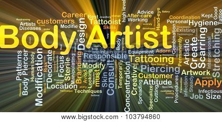 Background concept wordcloud illustration of body artist glowing light