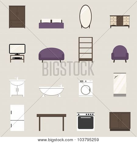Apartment elements set. Modern furniture isolated icons.