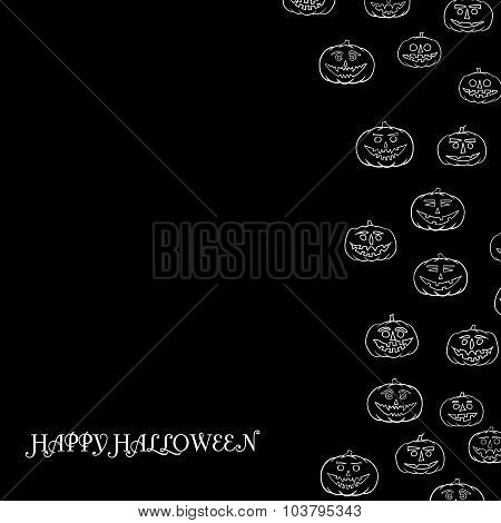 Hand Drawn Jack-o-lantern Vector Background