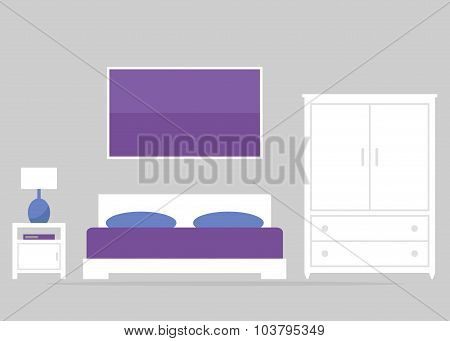 Bedroom interior design. Modern bedroom furniture.