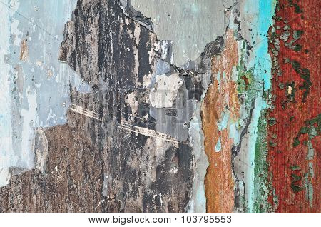Old Cracked Colorful Plaster Background