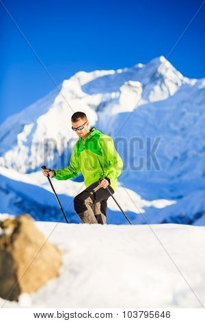 Man Hiker Or Climber Accomplish In Winter Mountains